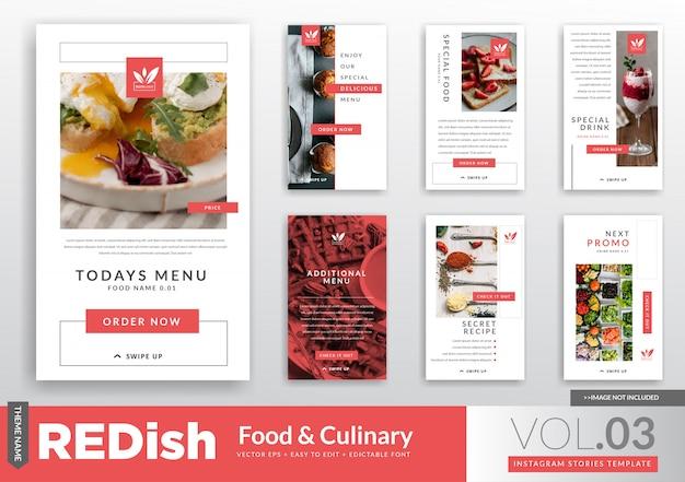 Modelo de promoção de food & culinary instagram stories Vetor Premium
