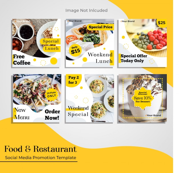 Modelo de promoção de mídia social de restaurante de comida Vetor Premium