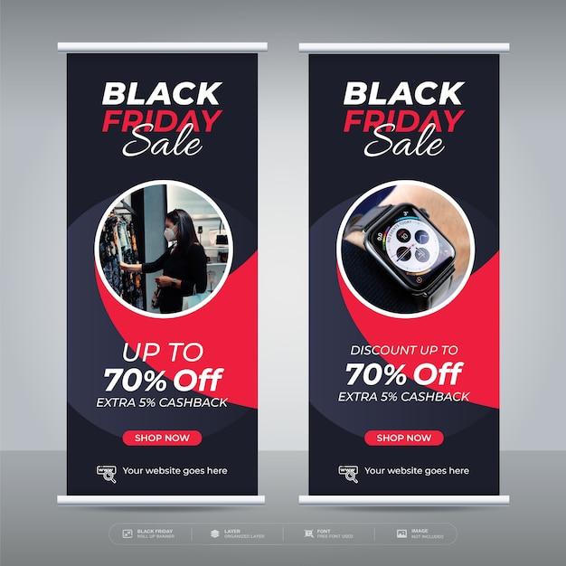 Modelo de promoção de oferta de banner de venda da black friday Vetor Premium