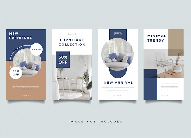 Modelo de promoção interior de histórias do instagram para casa Vetor Premium