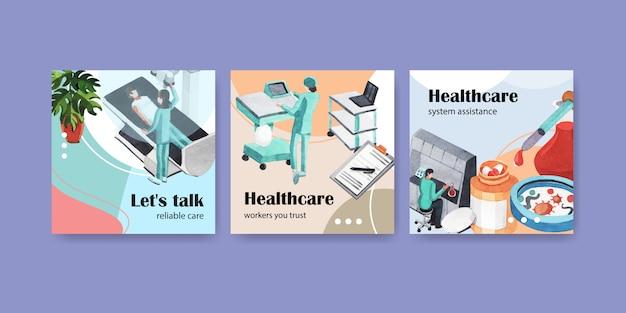 Modelo de publicidade com cuidados de saúde e hospital Vetor grátis