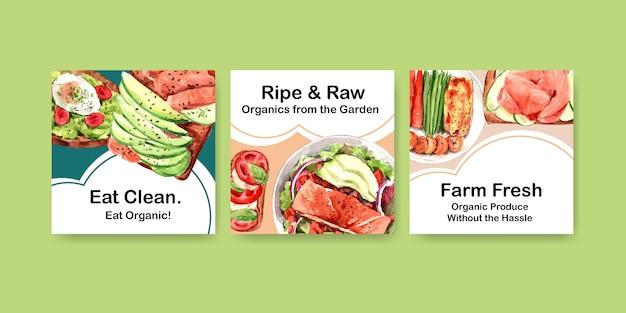 Modelo de publicidade com design de alimentos saudáveis e orgânicos Vetor grátis