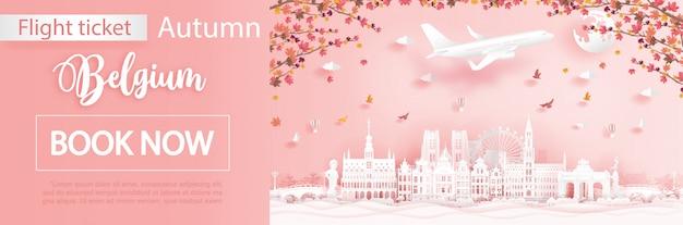 Modelo de publicidade de voo e bilhete com viagens para a bélgica na temporada de outono com folhas de maple caindo Vetor Premium