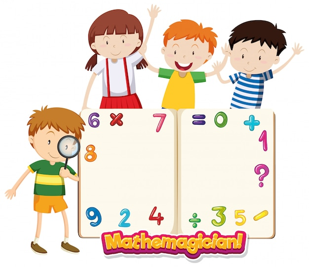 Modelo de quadro com crianças felizes e números Vetor grátis