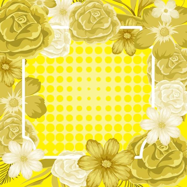 Modelo de quadro com flores amarelas Vetor Premium