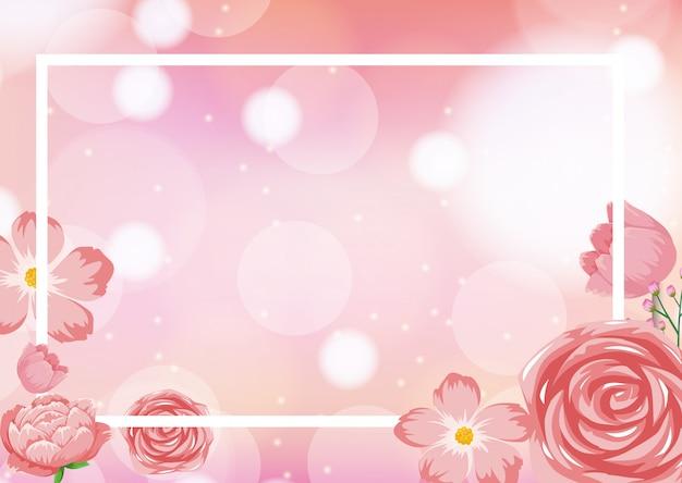 Modelo de quadro com rosas rosa Vetor Premium