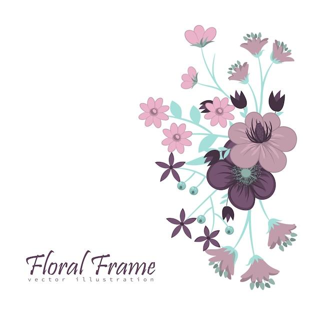 Modelo de quadro de flores. ilustração vetorial. Vetor Premium