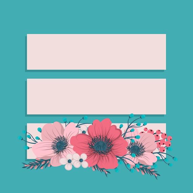 Modelo de quadro de flores. Vetor Premium