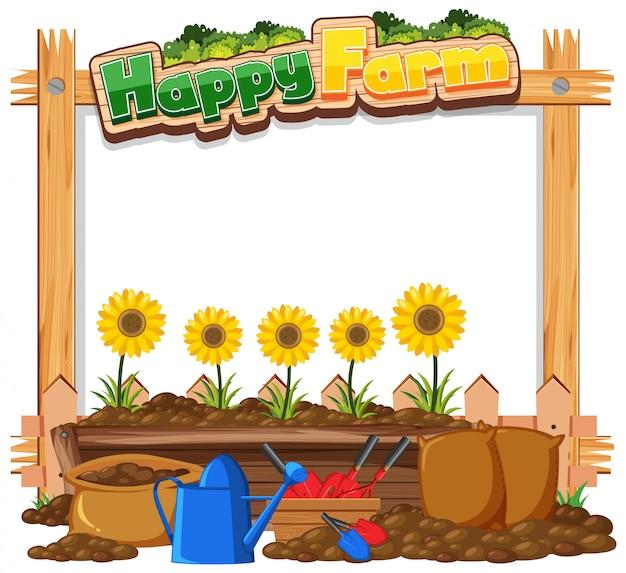 Modelo de quadro de fronteira com fundo de tema de jardinagem Vetor Premium