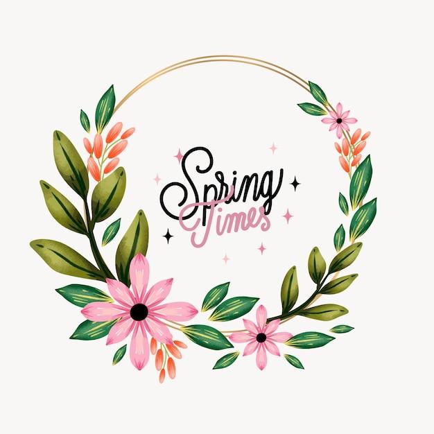 Modelo de quadro floral primavera aquarela Vetor grátis