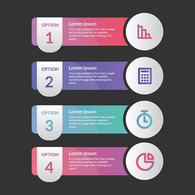 Modelo de quatro etapas de elemento infográfico Vetor Premium