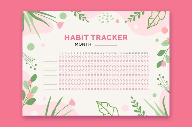 Modelo de rastreador de hábitos com plantas Vetor grátis