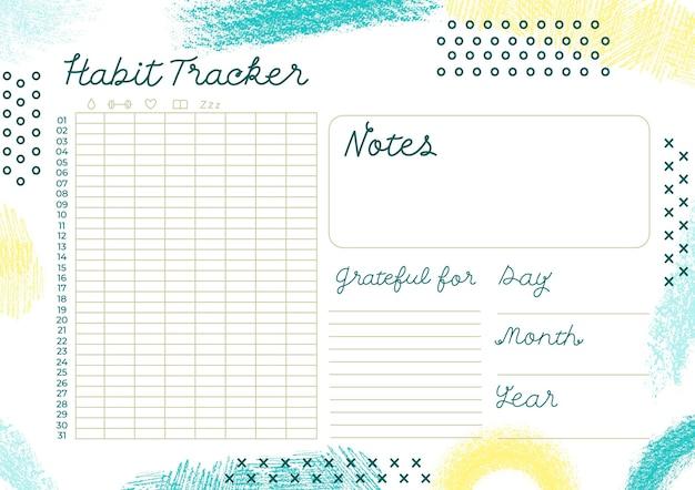 Modelo de rastreador de hábitos criativos Vetor grátis