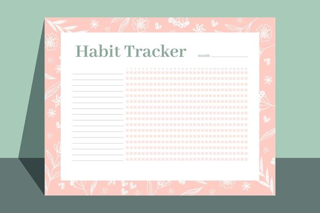 Modelo de rastreador de hábitos florais Vetor grátis