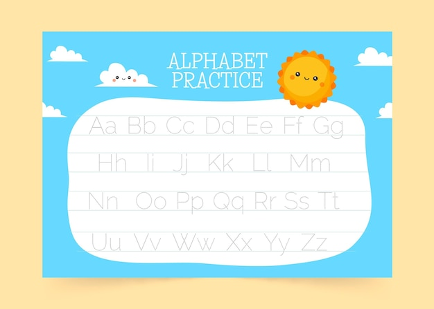 Modelo de rastreamento de alfabeto criativo com sol sorridente Vetor Premium