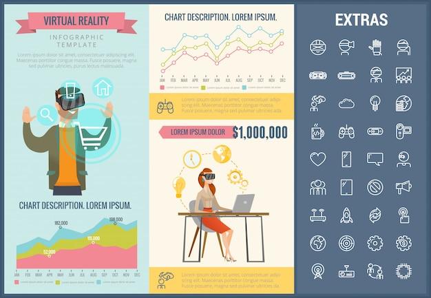 Modelo de realidade virtual infográfico e conjunto de ícones Vetor Premium