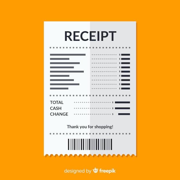 Modelo de recibo de pagamento com design plano Vetor Premium