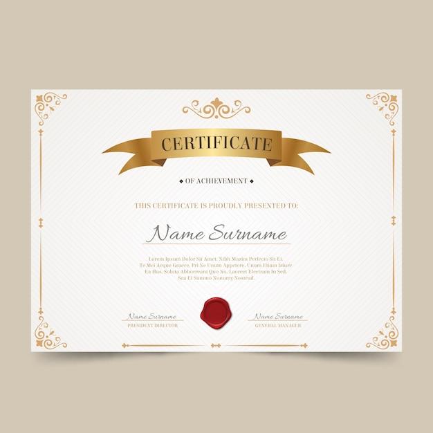 Modelo de reconhecimento de certificado elegante Vetor grátis