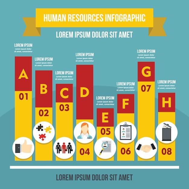 Modelo de recursos humanos infográfico, estilo simples Vetor Premium
