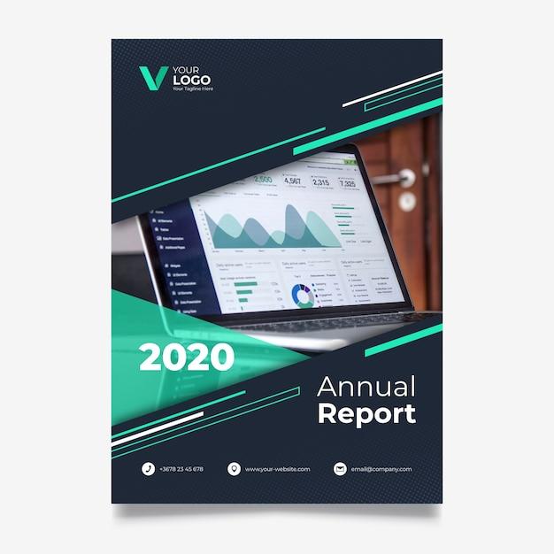 Modelo de relatório anual abstrato com foto Vetor grátis