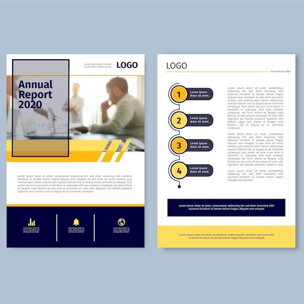Modelo de relatório anual com conceito de foto Vetor grátis