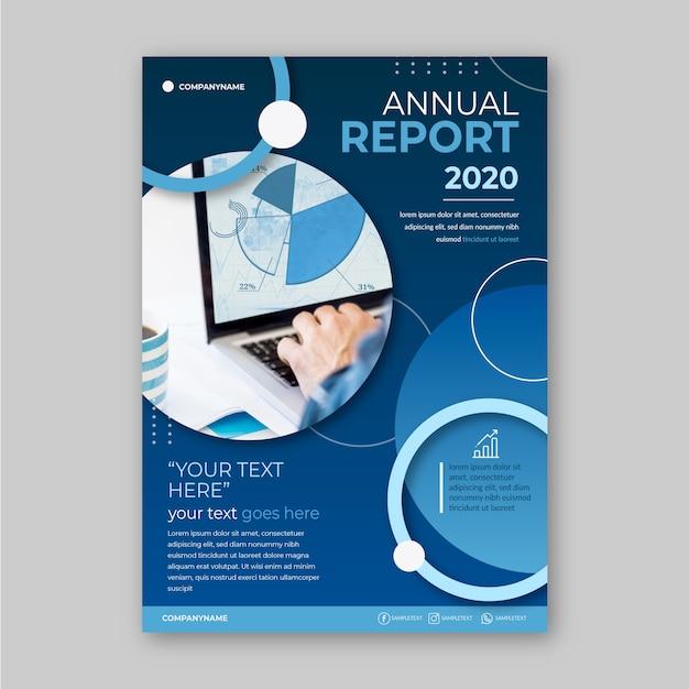 Modelo de relatório anual de negócios com foto Vetor grátis