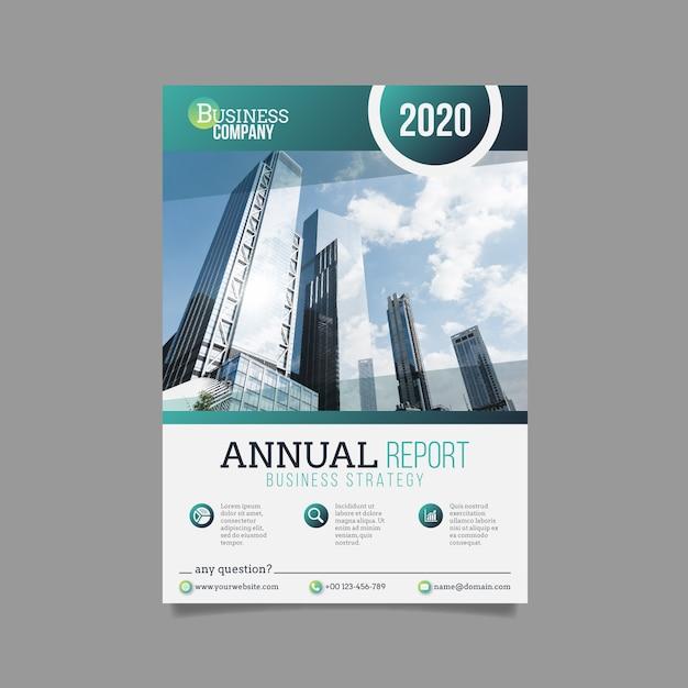 Modelo de relatório anual de negócios Vetor Premium