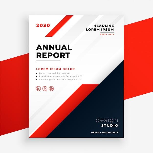 Modelo de relatório anual de panfleto comercial de tema vermelho Vetor grátis