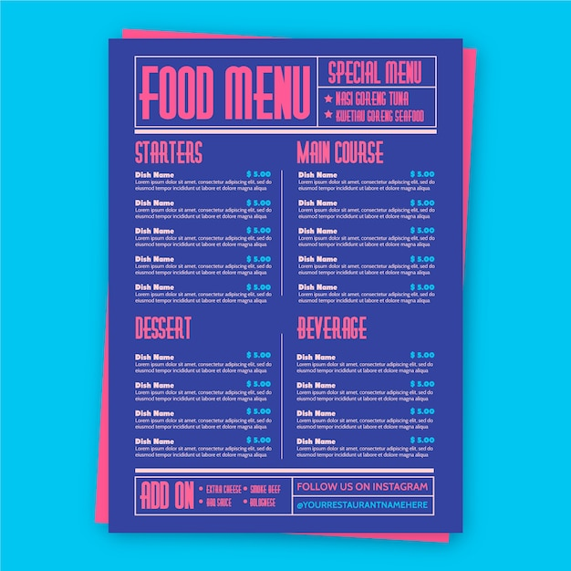 Modelo de restaurante de comida colorida Vetor grátis