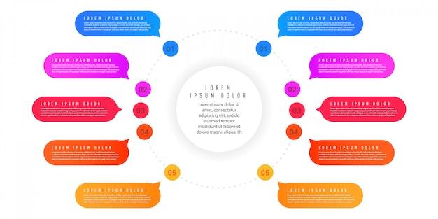 Modelo de resumo infográfico com formas de gradiente com elementos, numeração de elementos Vetor Premium