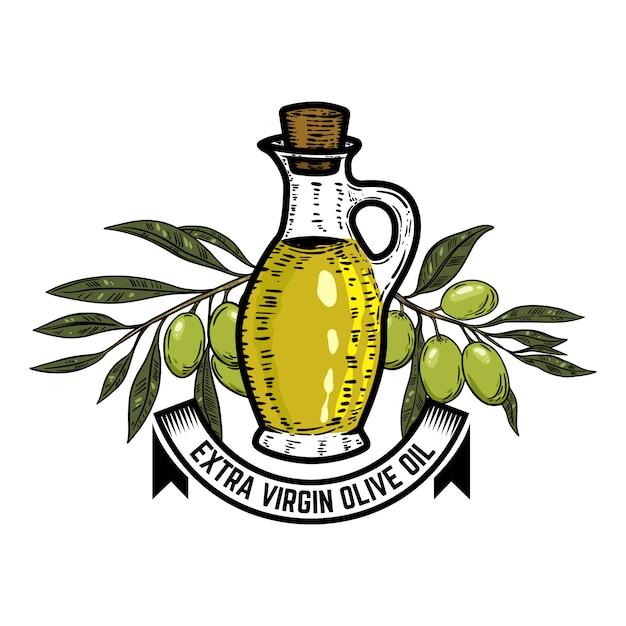 Modelo de rótulo de azeite. ramo de oliveira. elementos para o logotipo, etiqueta, emblema, sinal. ilustração Vetor Premium
