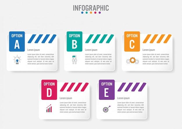 Modelo de rótulos de infográfico de negócios com 5 opções Vetor Premium