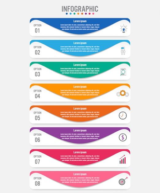 Modelo de rótulos de infográfico de negócios com 8 opções Vetor Premium