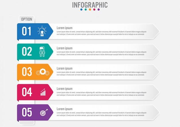 Modelo de rótulos de infográfico de negócios Vetor Premium