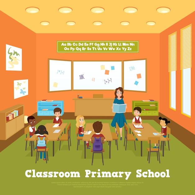 Modelo de sala de aula da escola primária Vetor grátis