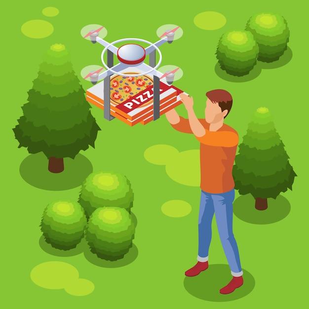 Modelo de serviço de entrega de comida moderna isométrica com drone trazendo pizza para homem Vetor Premium