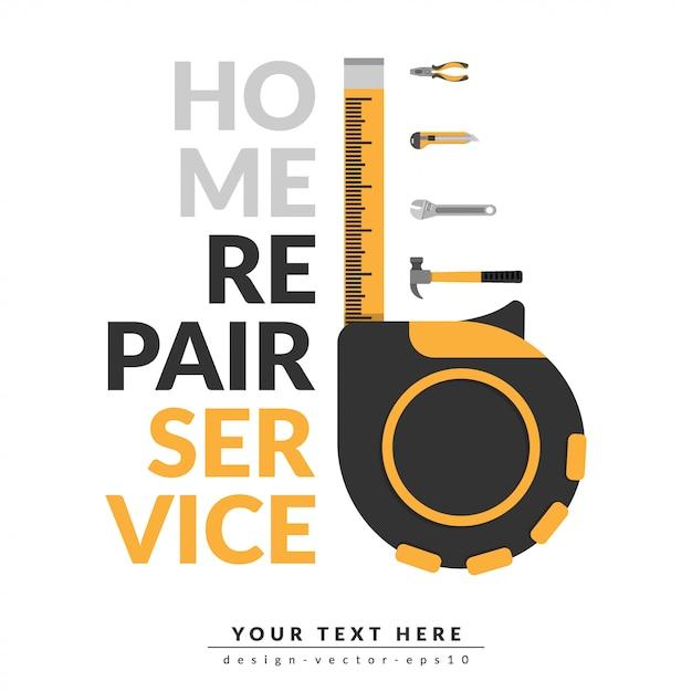 Modelo de serviço de reparo em casa Vetor Premium