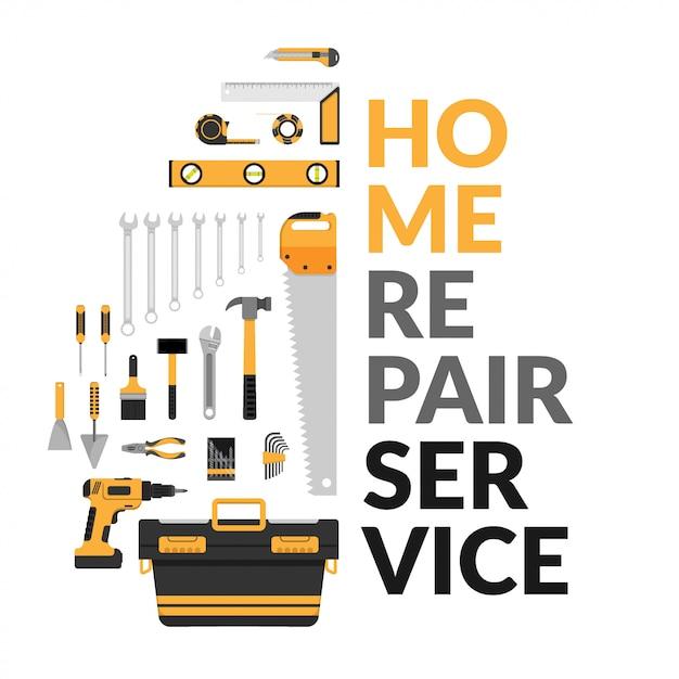 Modelo de serviço de reparo home com conjunto de ferramentas de trabalho de reparo home diy Vetor Premium