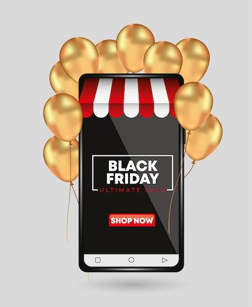 Modelo de sexta-feira negra para smartphone com balões de ouro. conceito de loja Vetor Premium