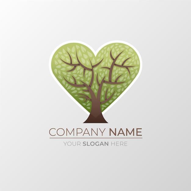 Modelo de símbolo de logotipo de árvore da vida em forma de coração Vetor Premium