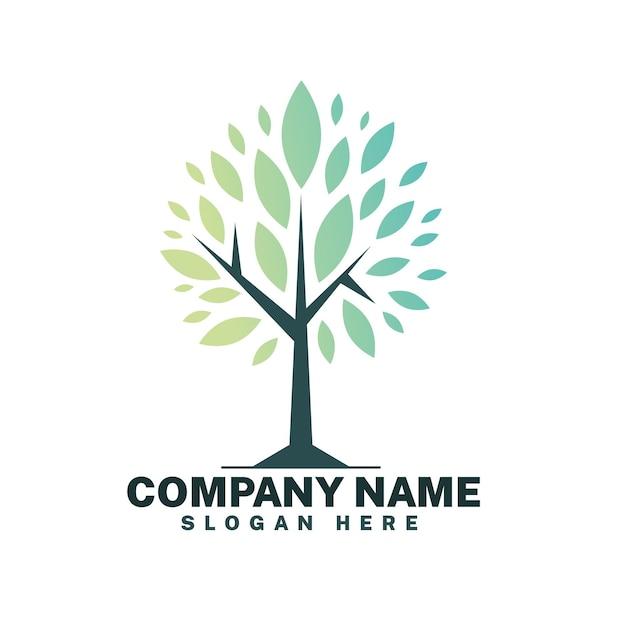 Modelo de símbolo de logotipo de árvore de vida minimalista Vetor Premium