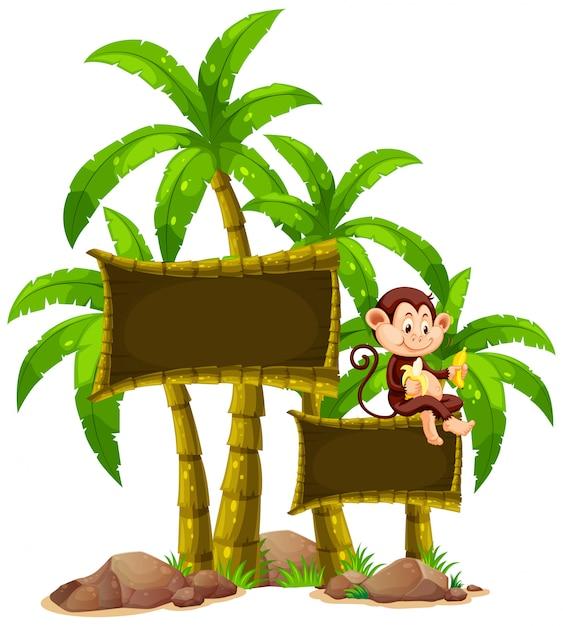 Modelo de sinal com macaco e árvores Vetor Premium