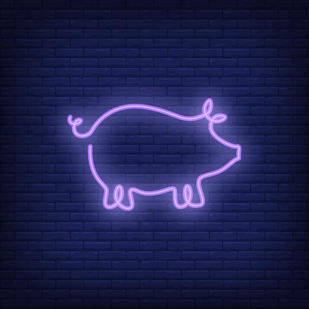 Modelo de sinal de néon de forma de porco. anúncio brilhante da noite. Vetor grátis