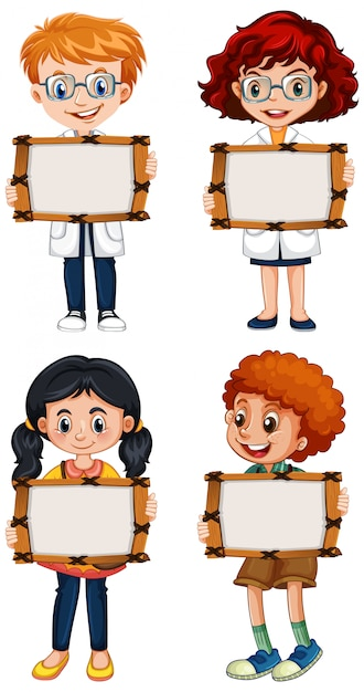 Modelo de sinal em branco com crianças felizes em fundo branco Vetor grátis