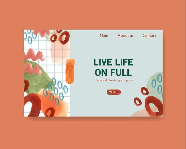 Modelo de site com design de compras para internet e ilustração em aquarela comunidade on-line Vetor grátis