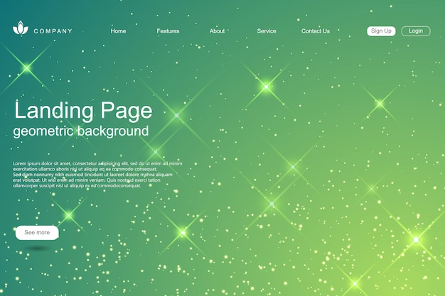 Modelo de site com fundo de estrelas brilhantes Vetor Premium