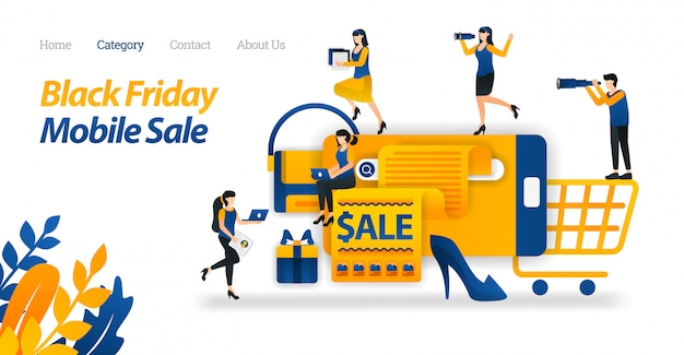 Modelo de site da página de aterrissagem para os descontos do shop for black friday no mobile, pesquise e encontre várias vendas black friday na internet. Vetor Premium