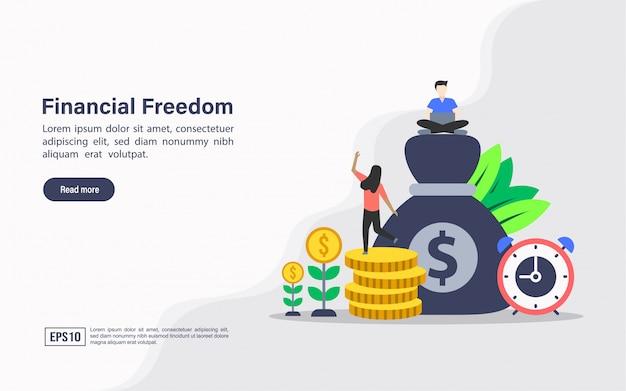 Modelo de site da página de destino da liberdade financeira Vetor Premium
