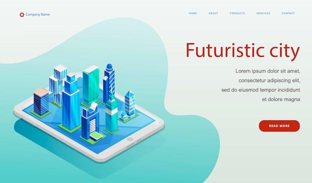 Modelo de site de cidade futurista Vetor Premium