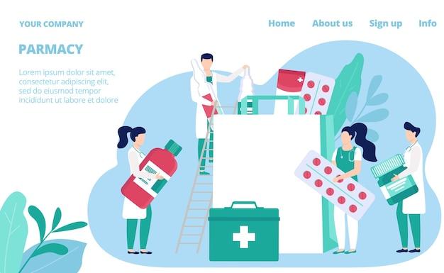 Modelo de site de loja de farmácia. farmacêuticos, farmacêuticos com remédios e drogas, pílulas e frascos de saúde. página da web da loja médica de cuidados de saúde. loja farmacêutica da drogaria. Vetor Premium
